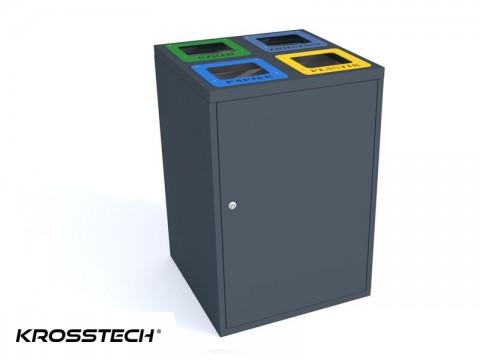 Kosz 4-komorowy do segregacji śmieci 80l cube