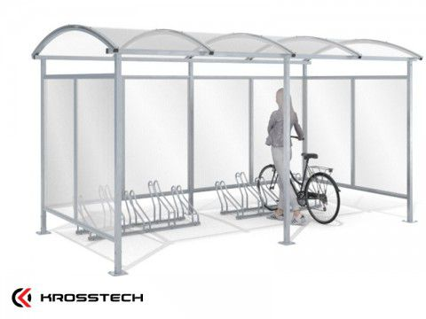 """Wiata rowerowa """"Zorza"""" zabudowana na 10 rowerów / 420cm"""
