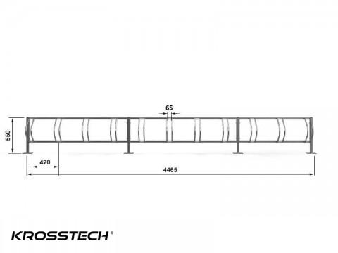 11 stanowiskowy stojak na rowery Echo-11 pion