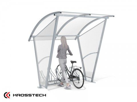 """Wiata rowerowa """"Świt"""" ze ścianami bocznymi na 5 rowerów / 210cm"""
