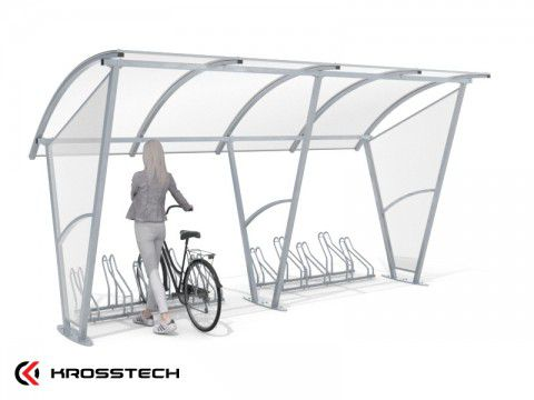 """Wiata rowerowa """"Świt""""  ze ścianami  bocznymi na 10 rowerów / 420cm"""