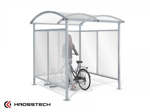 """Wiata rowerowa """"Zorza"""" zabudowana na 5 rowerów / 210cm"""