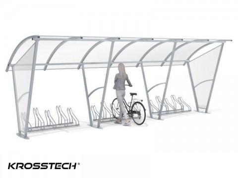 """Wiata rowerowa """"Świt"""" z bocznymi ścianami na 15 rowerów / 630cm"""