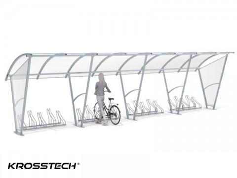 """Wiata rowerowa """"Świt"""" ze ściankami bocznymi na 20 rowerów / 840cm"""