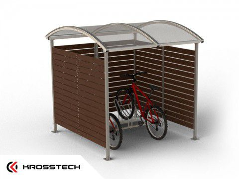 """Wiata rowerowa  """"Zorza"""" zabudowana  (ściany drewno) 5 rowerów / 210cm"""