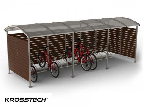 """Wiata rowerowa  """"Zorza"""" zabudowana  (ściany drewno) 15 rowerów / 630cm"""
