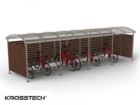 """Wiata rowerowa  """"Zorza"""" zabudowana  (ściany drewno) 20 rowerów / 840cm"""