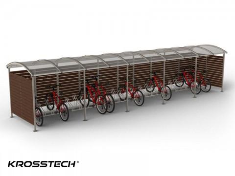 """Wiata rowerowa  """"Zorza"""" zabudowana  (ściany drewno) 25 rowerów / 1050cm"""