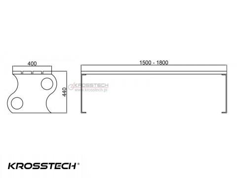 Rysunek techniczny - Ławka bez oparcia Fala II